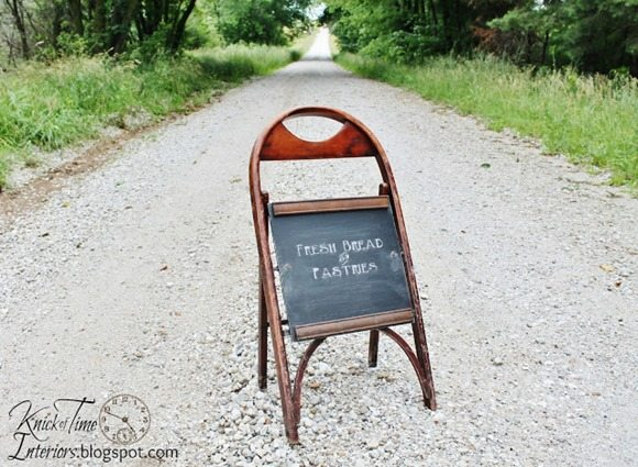 folding {chair} cafe chalkboard