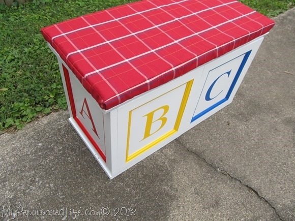 Toy box made from reused cabinet doors