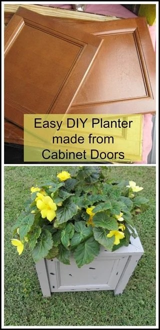 How to make an easy diy planter out of repurposed cupboard doors. Tips on assembling 4 doors into a planter for your porch or patio. Great for all seasons. #MyRepurposedLife #Repurposed #cupboard #doors #diy #planter via @repurposedlife