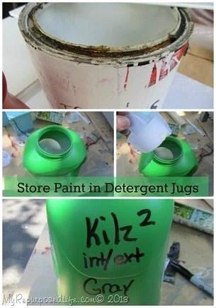 store paint in detergent jugs