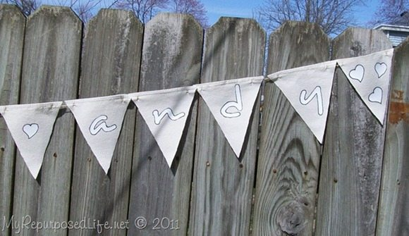 bunting made from drop cloth