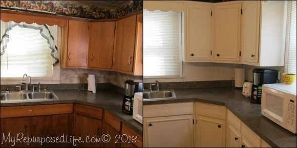 kitchen cabinet makeover with paint and trim