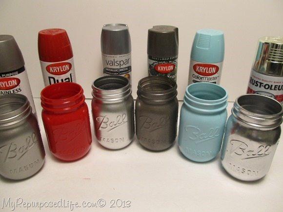 spray painted ball mason jars