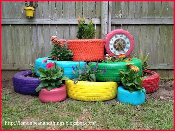 colorful spray painted tires