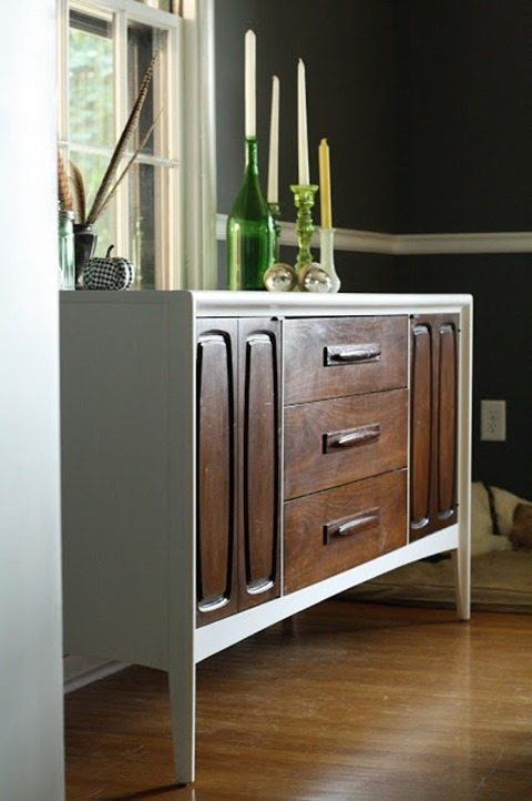 mid-century modern dresser into a two toned buffet