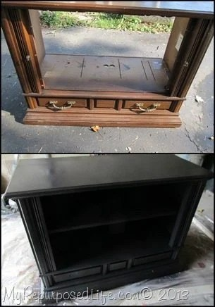 modified t.v. console before and after