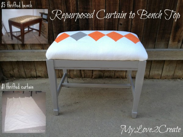 repurposed curtain covered bench