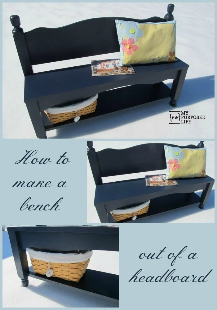 How to make a small bench from a twin headboard. Adding a bottom shelf is a bonus for storage and baskets. #MyRepurposedLife #headboard #repurposed #furniture #bench #blue #diy #project via @repurposedlife
