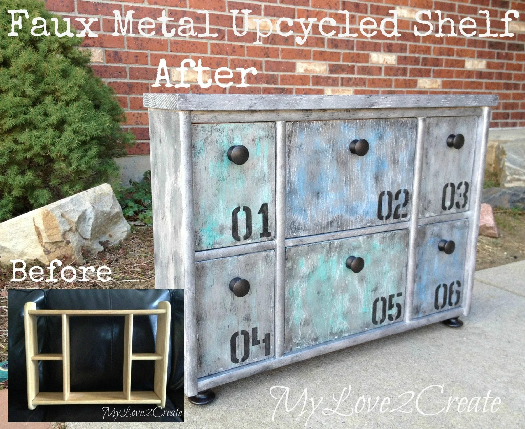 Faux Metal Finish Upcycled Shelf - My Repurposed Life®