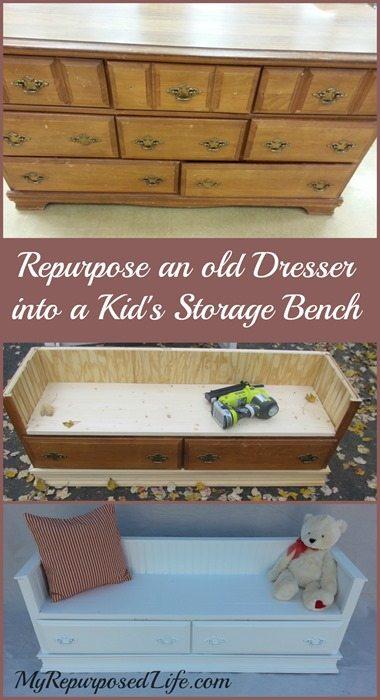 repurposed-dresser-kids-storage-bench
