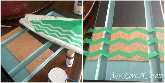 using contact paper for stencil for painting chevron stripes