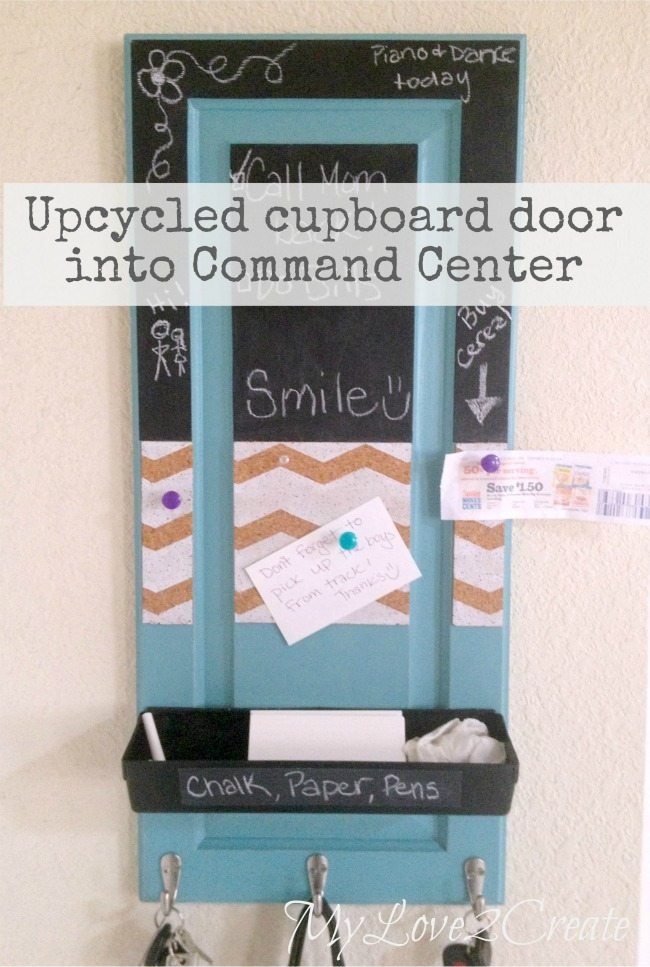 Upcycled Cupboard Door to Command Center