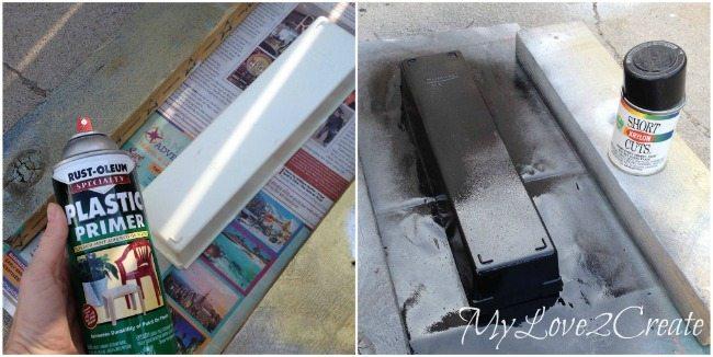 Spray paint with plastic primer, then regular spray paint