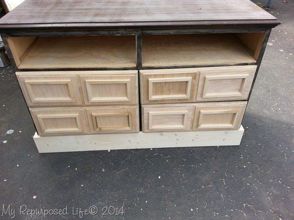 repurposed dresser into media center