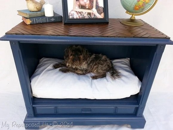 pet bed from t.v. cabinet  Chevron Table Top