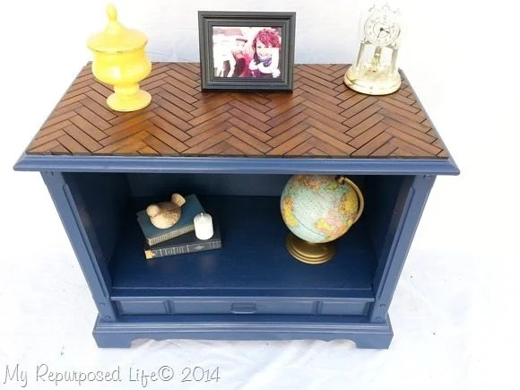 repurposed-tv-cabinet-chevron-herringbone-wooden-slatted-table-top
