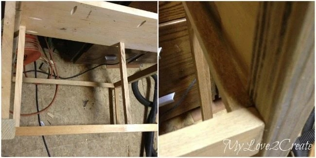 Adding wood for drawer guides in entry table