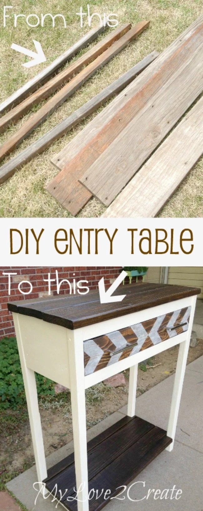 Entry Table made with old deck and scrap wood, before and after