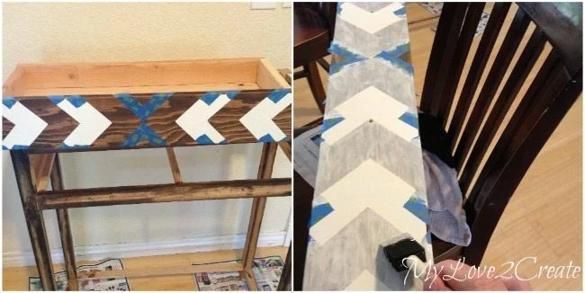 Contact paper stencil to make arrow pattern on drawer of entry table