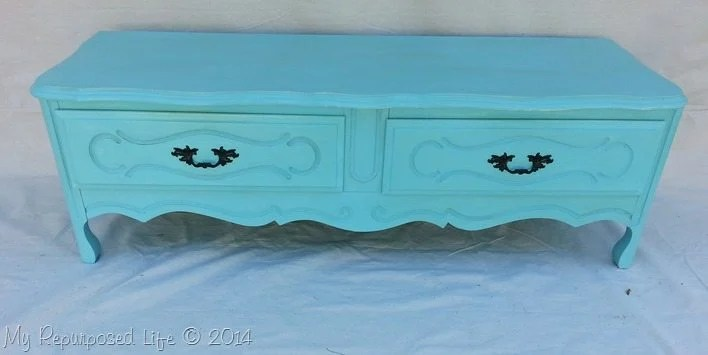 turquoise-french-provincial-repurposed-dresser