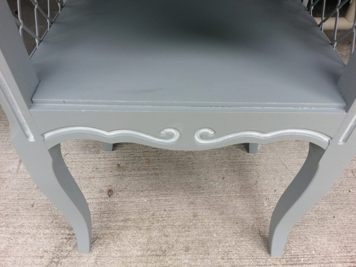 painted white detail on side table