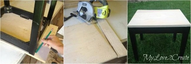 Cutting plywood to make top for table