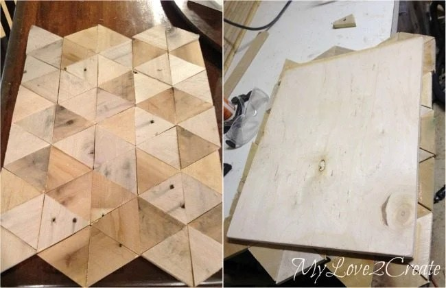 Triangle pallet pieces glued to plywood to make a pattern