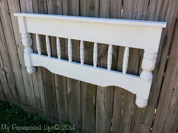 white coat rack shelf made from an old bunk bed