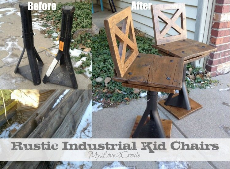 Rustic Industrial kid Chairs, before and after