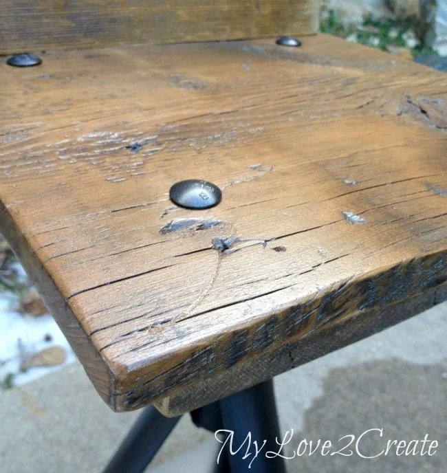 close up of seat top, Rustic Industrial kid Chairs