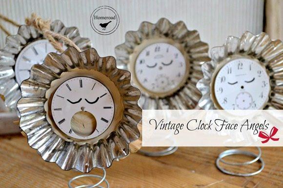 clock faced angel ornaments