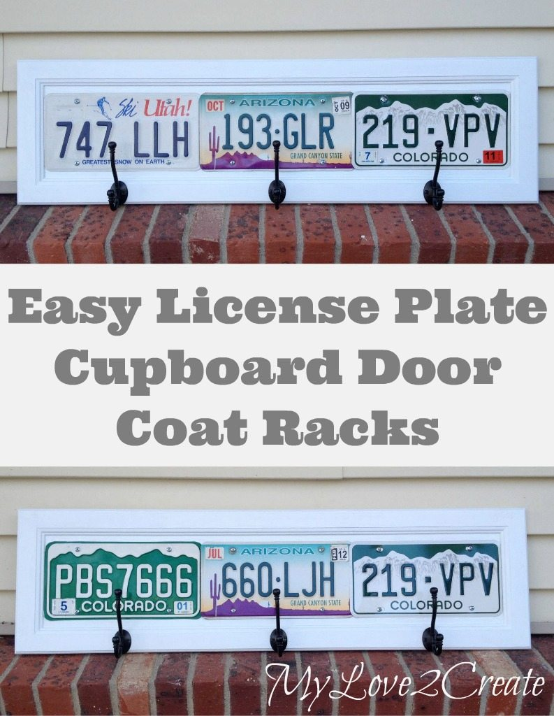 Repurpose your old cupboard doors into License Plate Coat Racks. An Easy, fun, and useful DIY project you can easily do yourself. #MyLove2Create #MyRepurposedLife #repurposed #licenseplates #coatracks via @repurposedlife