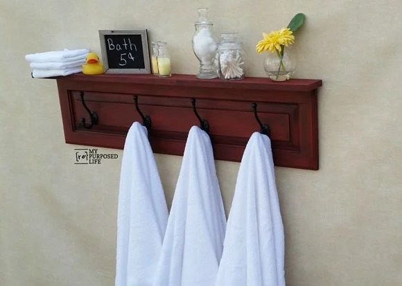 My-Repurposed-Life-red-cabinet-door-coat-rack-shelf