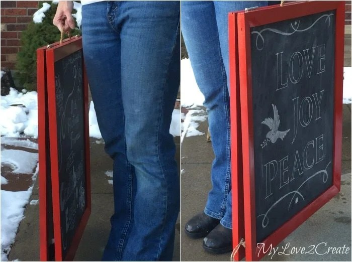 Easy to carry and store chalkboard easel