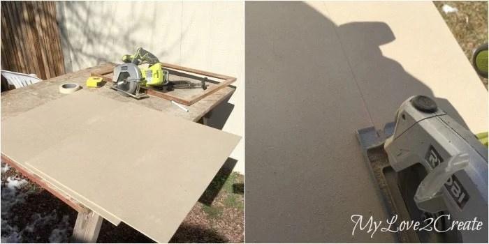 cutting chalkboard panel with circular saw