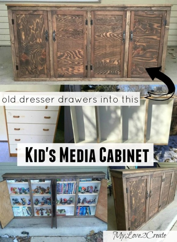 Old Dresser drawers into a Kid's Media Cabinet
