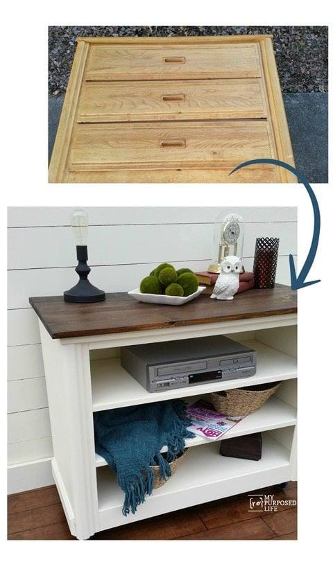 old dresser into a new shelving unit or tv media center