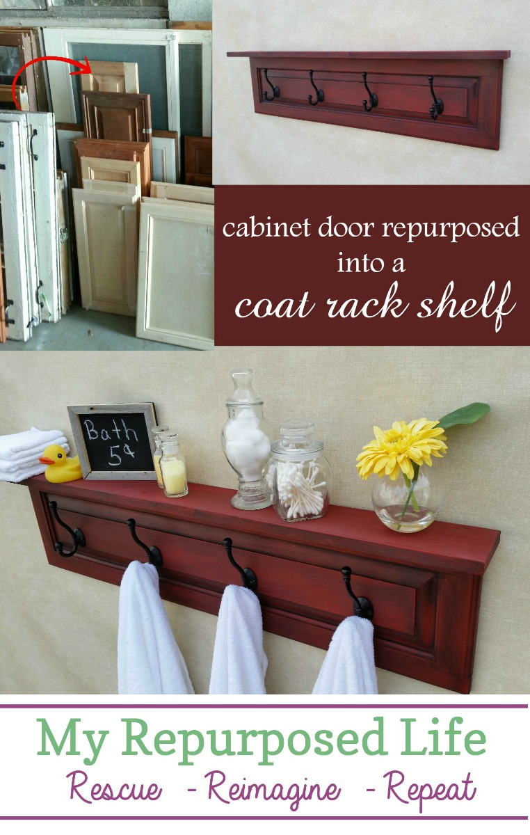 This Coat Rack Shelf is made from a cabinet door. This tutorial will show you how to make this, plus show you how to easily achieve this fabulous paint color. #MyRepurposedLife #repurposed #cabinet #door #shelf via @repurposedlife