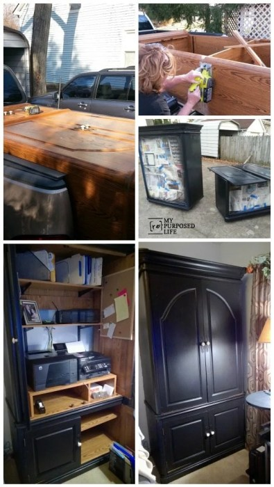 Repurposed Tv Armoire Office Storage My Repurposed Life 174