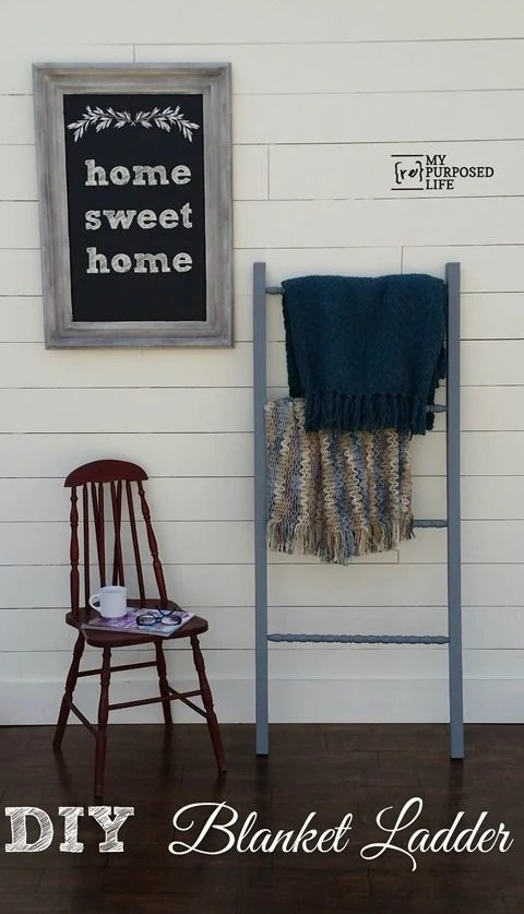 How to make a DIY blanket ladder out of scrap wood and repurposed spindles. Tips for drilling holes and more. #MyRepurposedLife #repurposed #blanketladder #spindles #diy #project via @repurposedlife