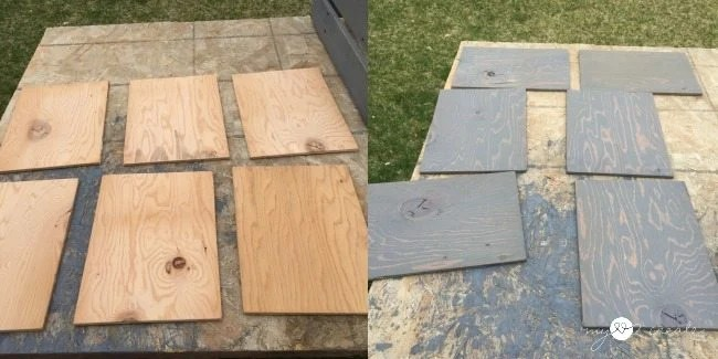 plywood crate bottoms cut and stained