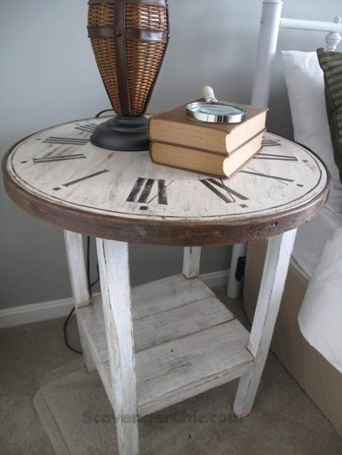 faux-clock-side-table