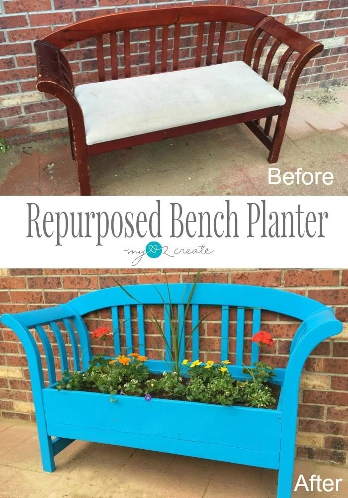 Turn your old bench into a beautiful Repurposed Bench Planter, perfect to brighten any yard!perfect to brighten any yard!