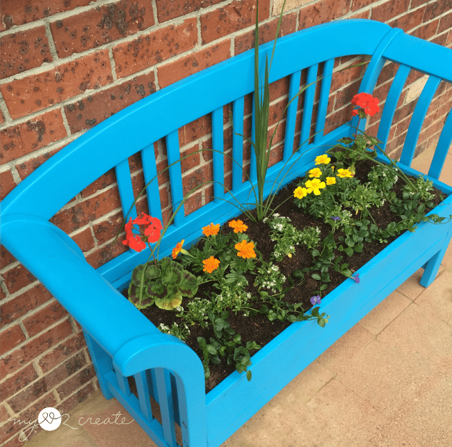 Top view bench planter