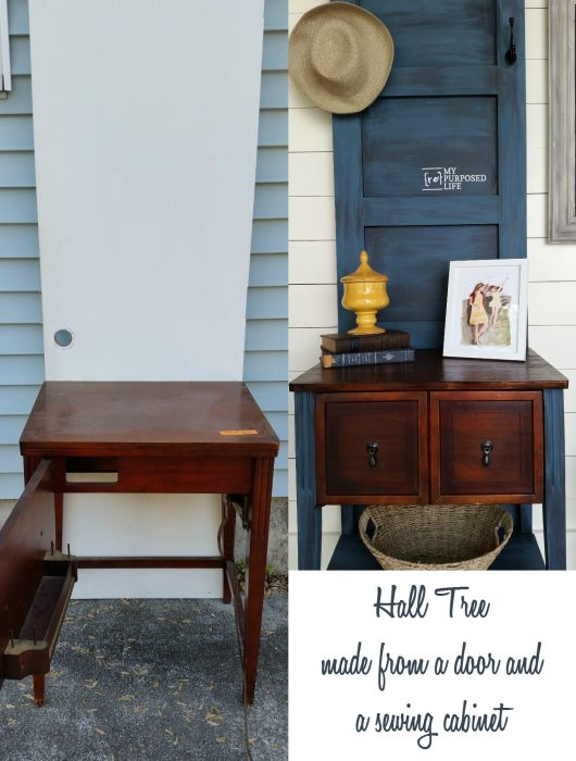 a $2 hollow core thrift store door and a sewing cabinet make a fabulous new hall tree for the entryway.
