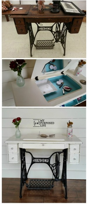 Singer Sewing Machine makeover into a sweet vanity