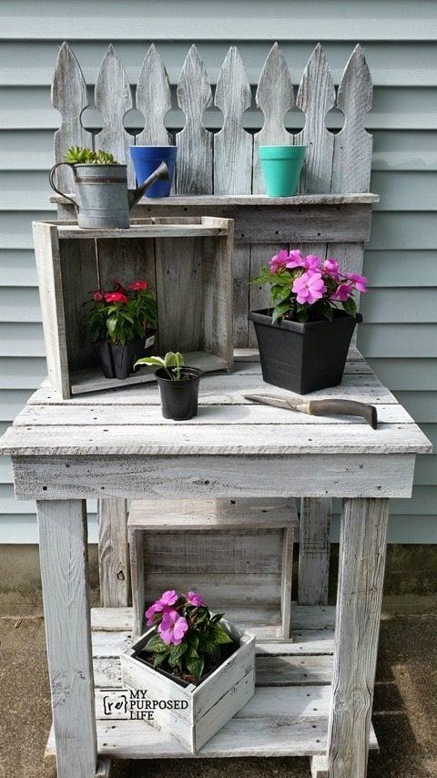 Reclaimed Wood Potting Bench My Repurposed Life 174