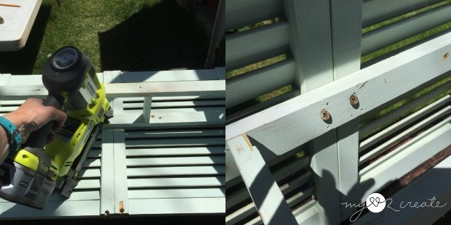 attaching shelf to shudders with nails and screws