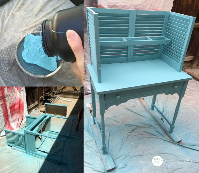 straining paint to spray final coat on potting bench