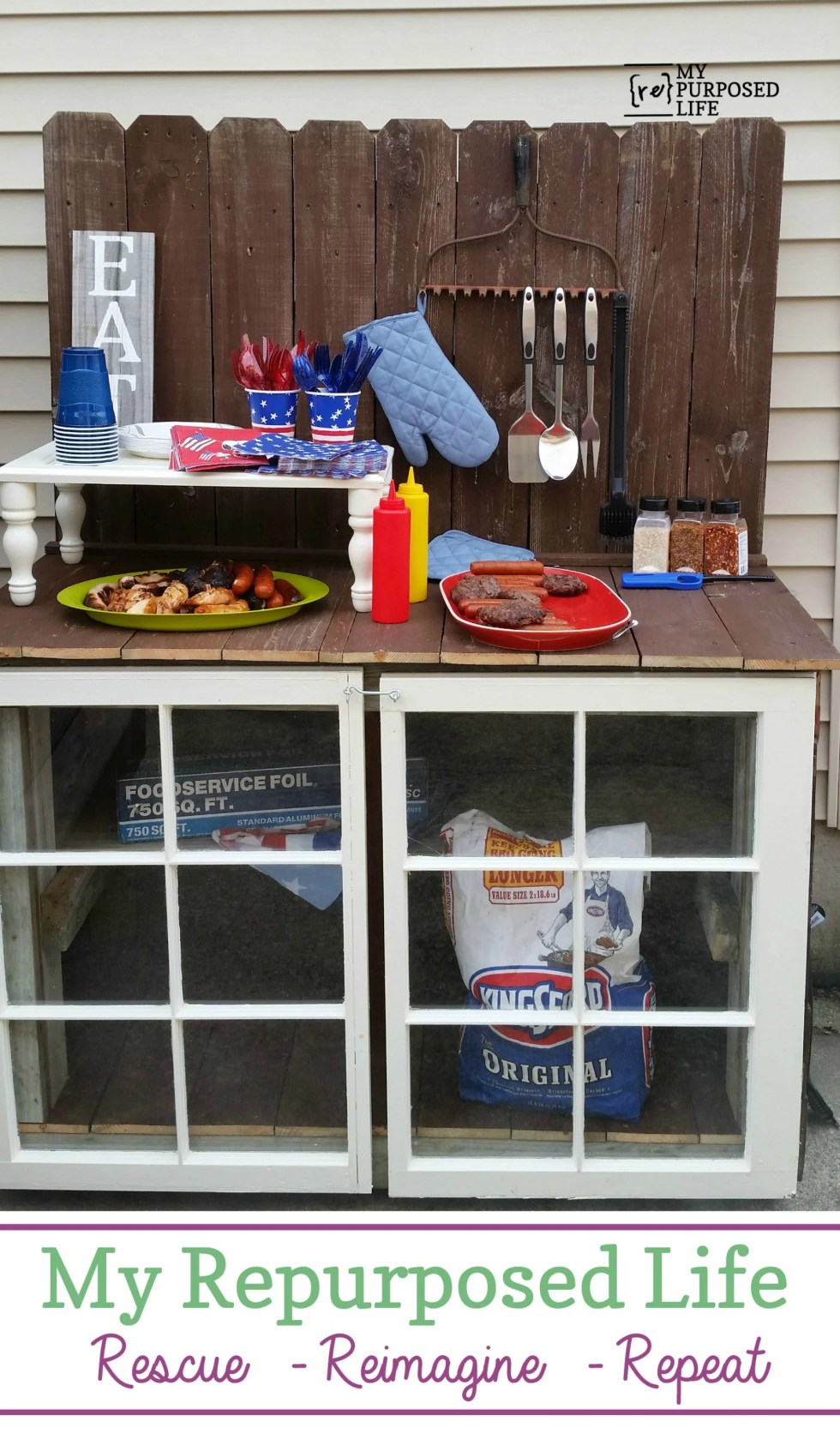 Are you an outdoors person who loves to grill or garden? This cabinet is easy to build and because it uses all reclaimed lumber, the price is right! #MyRepurposedLife #reclaimed #outdoor #barbecue #grilling #gardening #potting via @repurposedlife